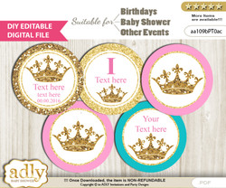 DIY Text Editable Princess  Royal Cupcake Toppers Digital File, print at home, suitable for birthday, baby shower, baptism