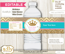 DIY Text Editable Princess  Royal Water Bottle Label, Personalizable Wrapper Digital File, print at home for any event