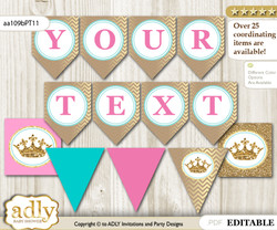 DIY Personalizable Princess  Royal Printable Banner for Baby Shower, Pink Turquoise, Crown