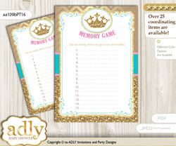 Princess  Royal Memory Game Card for Baby Shower, Printable Guess Card, Pink Turquoise, Crown
