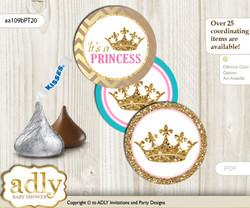 Printable  Princess  Royal Candy Kisses for Baby Princess Shower DIY Pink Turquoise , Crown