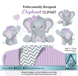 Purple and Gray Girl Baby Elephants Peanut Balloon Clipart