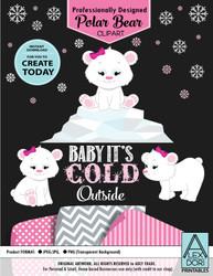 Winter Wonderland Baby Pink Polar Bear Set Clipart
