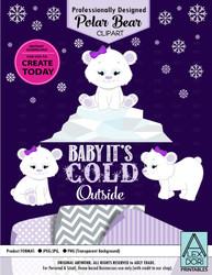 Purple Baby Polar Bear Set Winter Wonderland Clipart