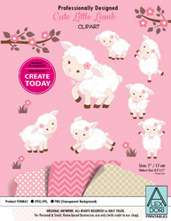 Clipart Cute Lamb/Sheep Girl Pink Background