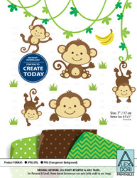 Cute Monkey. Monkey Boy/Gender Neutral Clip art