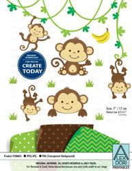 Cute Monkey. Monkey Boy/Gender Neutral Clip art