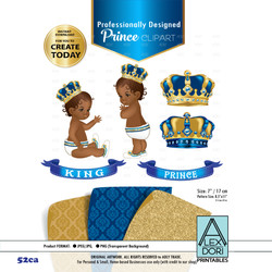 Royal Africa American Baby shower Clipart, Gold and Blue King/prince clipart, Crown clip art,Digital clipart