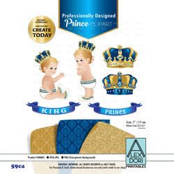 Royal Prince/King Royal Digital Clipart,Blue and Gold baby clipart,Crown scrapbook clip art,Royal crowns,Royal baby shower