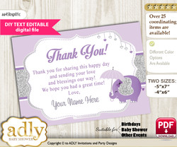DIY Editable Elephant Peanut Thank you Printable card, only text editable thank you for Baby Shower or Birthday Party