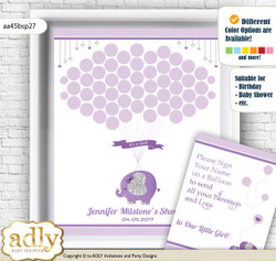 Elephant Peanut Guest Book Alternative for a Baby Shower, Creative Nursery Wall Art Gift, purple gray, Glitter