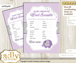 Elephant Peanut Word Scramble Game for Baby Shower
