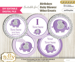 DIY Text Editable Elephant Peanut Cupcake Toppers Digital File, print at home, suitable for birthday, baby shower, baptism