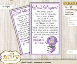 Request a Book Instead of a Card for Elephant Peanut Baby Shower or Birthday, Printable Book DIY Tickets, Glitter, purple gray