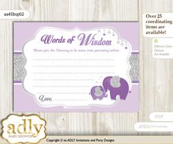 purple gray Elephant Peanut Words of Wisdom or an Advice Printable Card for Baby Shower, Glitter