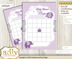 Printable purple gray Peanut Bingo Game Printable Card for Baby Elephant Shower DIY grey, purple gray, Glitter