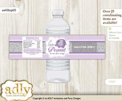 Elephant Peanut Water Bottle Wrappers, Labels for a Peanut  Baby Shower, purple gray, Glitter