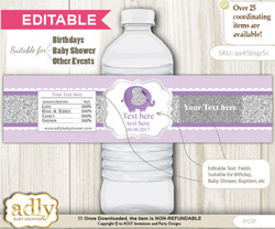DIY Text Editable Elephant Peanut Water Bottle Label, Personalizable Wrapper Digital File, print at home for any event