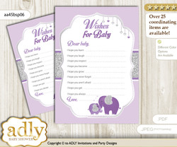 Elephant Peanut Wishes for a Baby, Well Wishes for a Little Peanut Printable Card, Glitter, purple gray