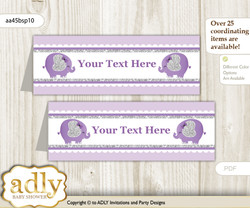 DIY Text Editable Printable Elephant Peanut Buffet Tags or Food Tent Labels  for a Baby Shower or Birthday , purple gray, Glitter