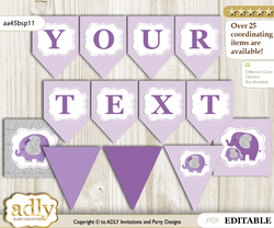 DIY Personalizable Elephant Peanut Printable Banner for Baby Shower, purple gray, Glitter