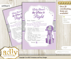 Printable Elephant Peanut Price is Right Game Card for Baby Peanut Shower, purple gray, Glitter