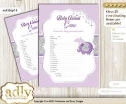 Printable Elephant Peanut Baby Animal Game, Guess Names of Baby Animals Printable for Baby Peanut Shower, purple gray, Glitter