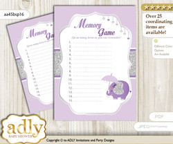 Elephant Peanut Memory Game Card for Baby Shower, Printable Guess Card, purple gray, Glitter