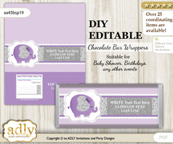 DIY Personalizable Elephant Peanut Chocolate Bar Candy Wrapper Label for Elephant  baby shower, birthday purple gray , editable wrappers