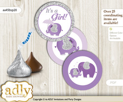 Printable  Elephant Peanut Candy Kisses for Baby Elephant Shower DIY purple gray , Glitter