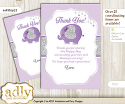 Elephant  Peanut Thank you Cards for a Baby Elephant Shower or Birthday DIY purple gray, Glitter
