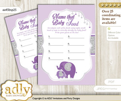 Elephant Peanut Guess Baby Food Game or Name That Baby Food Game for a Baby Shower, purple gray Glitter