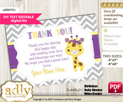 DIY Editable Giraffe Girl Thank you Printable card, only text editable thank you for Baby Shower or Birthday Party