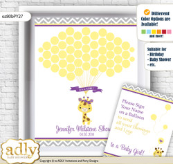 Giraffe Girl Guest Book Alternative for a Baby Shower, Creative Nursery Wall Art Gift, Purple Yellow, Safari