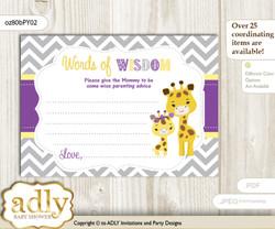 Purple Yellow Giraffe Girl Words of Wisdom or an Advice Printable Card for Baby Shower, Safari
