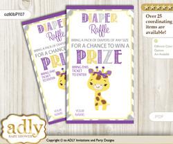 Giraffe Girl Diaper Raffle Printable Tickets for Baby Shower, Purple Yellow, Safari