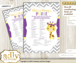 Giraffe Girl What is in Mommy's Purse, Baby Shower Purse Game Printable Card , Purple Yellow,  Safari