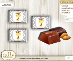 Giraffe Girl Chocolate Nuggets Candy Wrapper Label for Baby Giraffe Shower  Purple Yellow , Safari