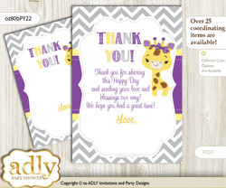 Giraffe  Girl Thank you Cards for a Baby Giraffe Shower or Birthday DIY Purple Yellow, Safari