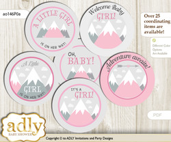 Baby Shower Adventure Mountain Cupcake Toppers Printable File for Little Adventure and Mommy-to-be, favor tags, circle toppers, Girl, Gray pink