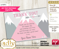 DIY Editable Adventure Mountain Thank you Printable card, only text editable thank you for Baby Shower or Birthday Party