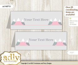 DIY Text Editable Printable Adventure Mountain Buffet Tags or Food Tent Labels  for a Baby Shower or Birthday , Gray pink, Girl
