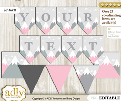 DIY Personalizable Adventure Mountain Printable Banner for Baby Shower, Gray pink, Girl