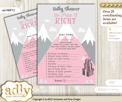 Printable Adventure Mountain Price is Right Game Card for Baby Mountain Shower, Gray pink, Girl