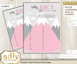 Adventure Mountain Baby ABC's Game, guess Animals Printable Card for Baby Mountain Shower DIY – Girl