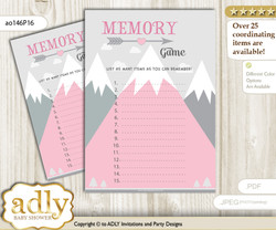 Adventure Mountain Memory Game Card for Baby Shower, Printable Guess Card, Gray pink, Girl