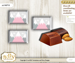 Adventure Mountain Chocolate Nuggets Candy Wrapper Label for Baby Adventure Shower  Gray pink , Girl