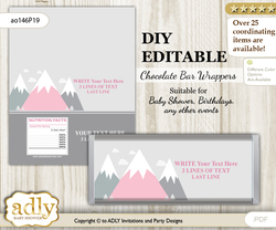 DIY Personalizable Adventure Mountain Chocolate Bar Candy Wrapper Label for Adventure  baby shower, birthday Gray pink , editable wrappers