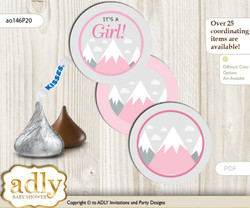 Printable  Adventure Mountain Candy Kisses for Baby Adventure Shower DIY Gray pink , Girl