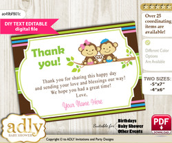 DIY Editable Monkeys Girl Boy Thank you Printable card, only text editable thank you for Baby Shower or Birthday Party